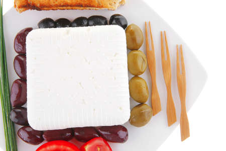image of feta cheese on white plate Stock Photo - 10276818