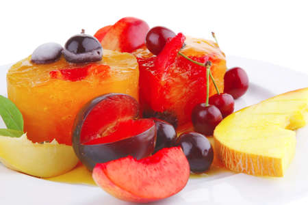 gelatine: image of fruit ice cream with fruits on plate