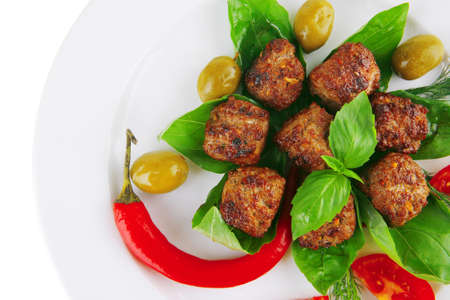 meatballs and vegetables with basil and vegetables Stock Photo - 10405510
