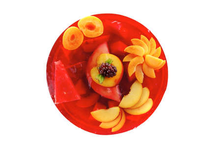 sweet cold red jelly cake with peach  photo