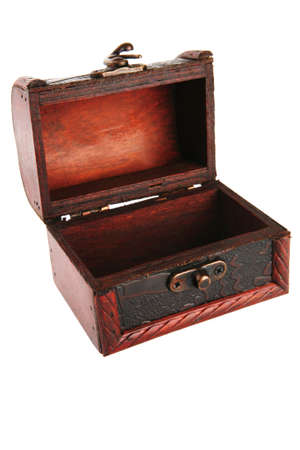 trinket: single open wooden chest with metal ornament