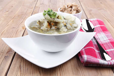 hot fresh diet vegetable soup with rye bread crackers over wood table on white ceramic stand photo