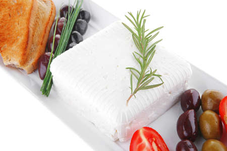 image feta cube and olive over white plate with bread Stock Photo - 10824326