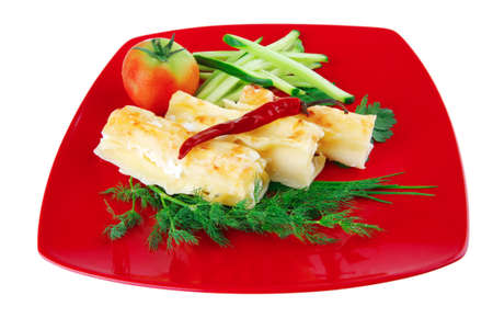 baked cannelloni served with pepper and tomato Stock Photo - 10824268