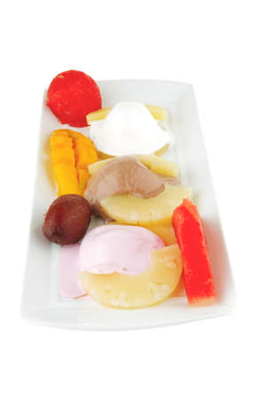 melt ice cream and gruits on plate Stock Photo - 10824133