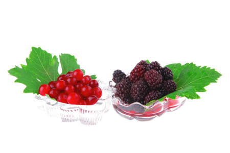 black and red berrys in transparent glass bowl Stock Photo - 10824197
