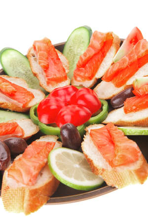 smoked salmon on baguette with olives and pepper Stock Photo - 10870558