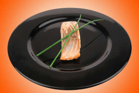 sea food : roasted pink salmon fillet with chinese onion, on black dish isolated over white background Stock Photo - 10893350