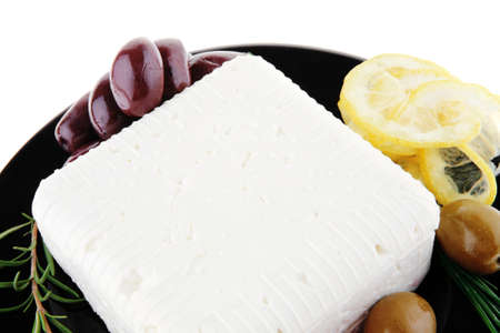 image of feta cheese and olives on black Stock Photo - 10941184