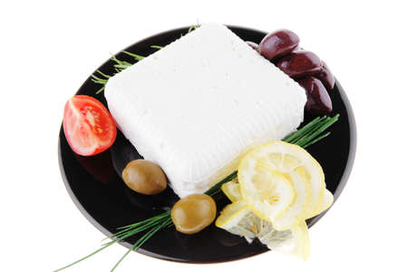 image of feta cheese and olives on black Stock Photo - 10962820
