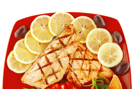king salmon: roast red salmon with lemon and tomatoes
