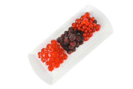 cherry and wild berrys over white dessert plate Stock Photo - 11234252
