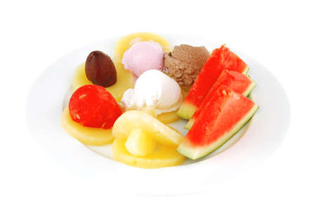 big plate with mix fruits and ice cream photo