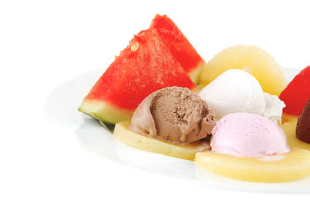 ice cream and fruits on white plate Stock Photo - 11338335
