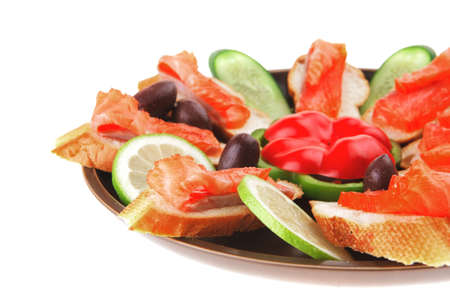 olives salmon and pepper served on dish Stock Photo - 11472745