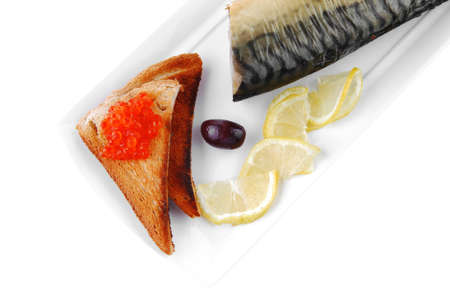 smoked herring and red caviar on toast photo