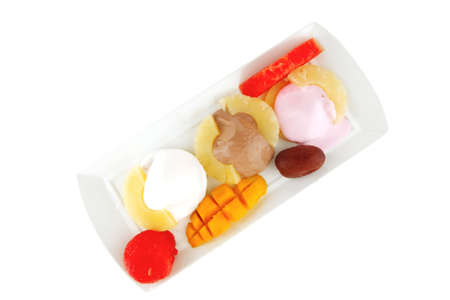 brylle: melt ice cream and gruits on plate