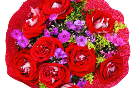 flowers : big bouquet of rose and pansy flowers with green grass in red wrapping papper isolated over white background Stock Photo - 11635006