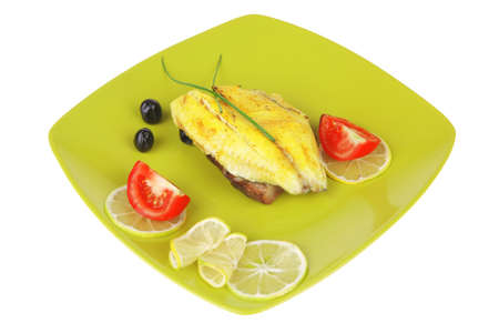 seafish: savory plate: roast golden seafish fillet with vegetables and citrus