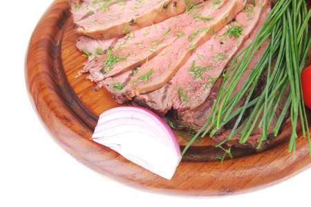 hot beef on wooden plate over white Stock Photo - 11782541