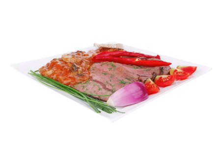 grilled beef slice on plate over white photo