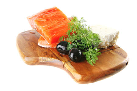 smoked fresh salmon piece with olives and white cheese Stock Photo - 12000067