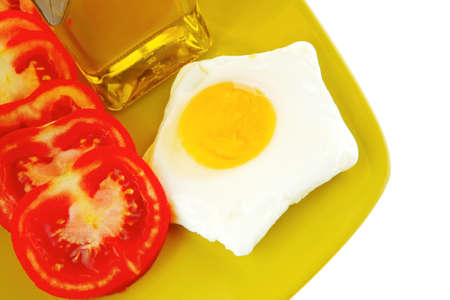 fried egg and cottage cheese with olive oil photo