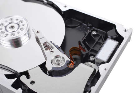 real open hard drive isolated on white ackground photo