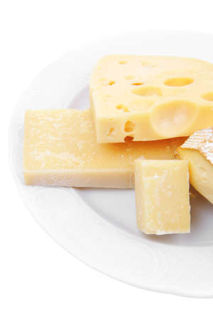 various types of cheese on white platter isolated on white background Stock Photo - 12265155