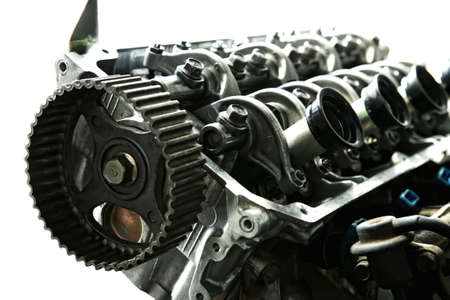 car engine inside view isolated over white Stock Photo - 12265805