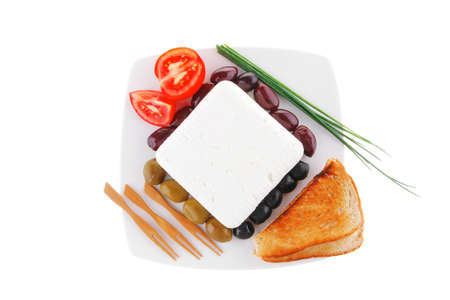 image of feta cheese on white plate Stock Photo - 12527683