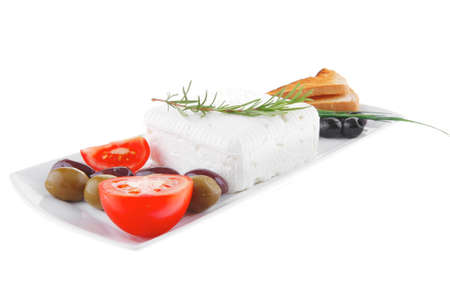 image feta cube and olive over white plate with bread Stock Photo - 12528895