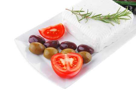 image feta cube and olive over white plate with bread Stock Photo - 12529008