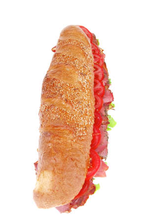 french sandwich : fresh white baguette with chicken smoked sausage isolated over white background photo