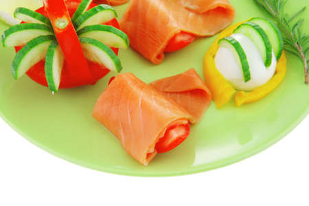 image of red smoked salmon and vegetables photo