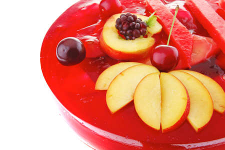 cold red jelly pie with apricot and watermelon photo
