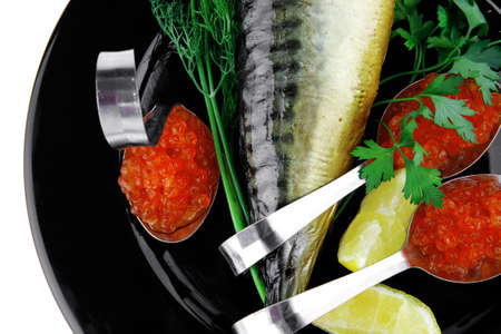 image of smoked fish served with salmon red caviar Stock Photo - 12531311