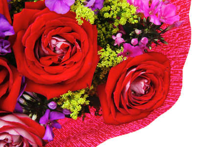 flowers : big bouquet of rose and pansy flowers with green grass in red wrapping papper isolated over white background Stock Photo - 12529380