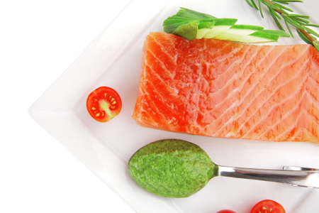 smoked salmon fillet isolated on plate with sauce Stock Photo - 12697919
