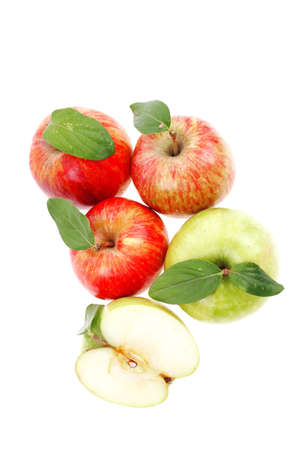 group of red and green fresh ripe apples with half isolated over white background photo