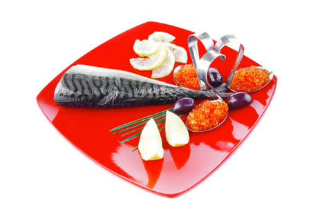 smoked fish with lemon and caviar on red Stock Photo - 13029189