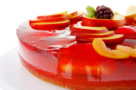cold red jelly pie with peach and nectarine