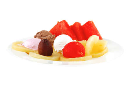 ice cream and fruits on white plate photo