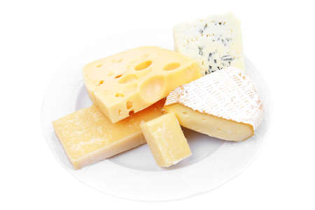 various types of cheese on white platter isolated on white background Stock Photo - 13172822