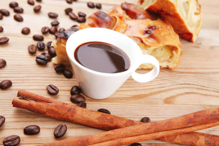 baked food: apple pie on wooden table served with coffee cup and cinnamon sticks Stock Photo - 13316928