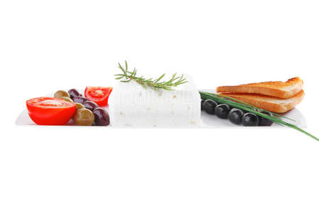 image of toast and vegetables with soft feta cheese Stock Photo - 13422566