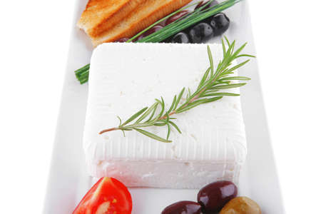 soft white cheese with bright toast and olives Stock Photo - 13422924