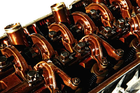 old car engine in oil inside view isolated over white Stock Photo - 13422662