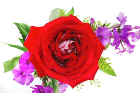 botan: flowers : small bouquet of rose and pansy flowers with green grass isolated over white background