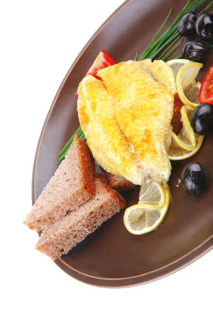 served roast golden fish fillet with tomatoes, rye bread and olives Stock Photo - 13519454